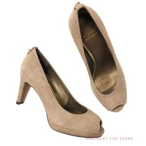Stuart Weitzman Logoplainfield Top Goose Tan Pumps